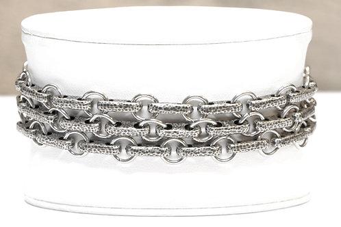 Chaîne Homme/Bracelet 3 tours  en argent plaqué et acier - Modèle CHANNYS