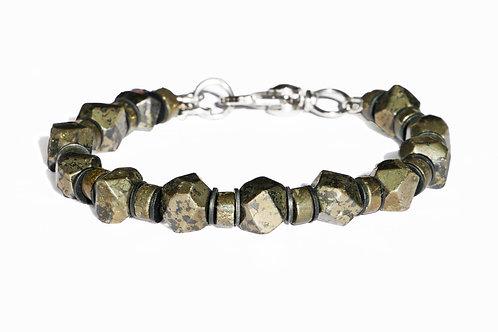 Bracelet pyrite, acier et vinyle africain - Modèle JORDAN