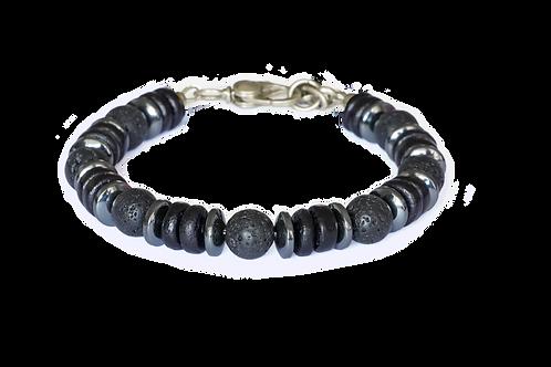 Bracelet pierre de lave, bois de coco noir et hématite - Modèle GREG
