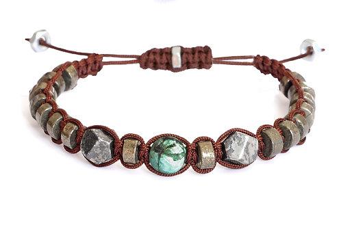 Bracelet en macramé et pierres naturelles 8mm - Modèle SYLVAIN
