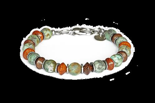 Bracelet jaspe turquoise, bois exotique et hématite - Modèle REMY