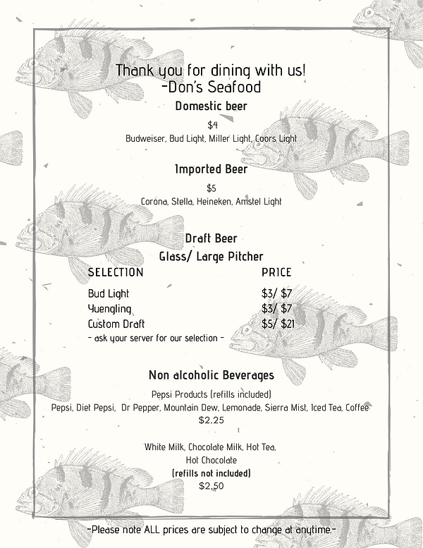 Thank you for dining with us! -Don's Sea