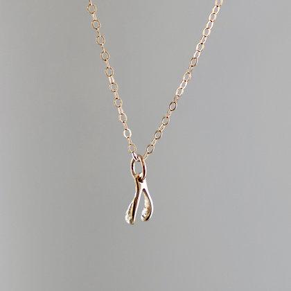 Petite Gold Wishbone Necklace