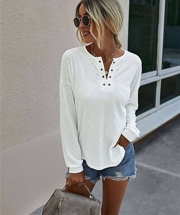 Long Sleeve White Knit Top