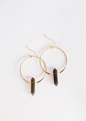 Smoky Quartz Hoop Earrings
