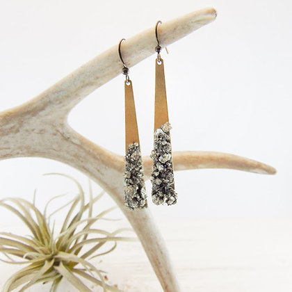 Statement Triangle Pyrite Earrings