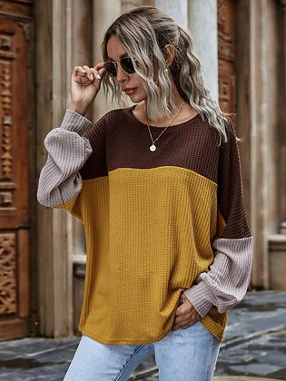 Tri Colored Waffle Knit Top