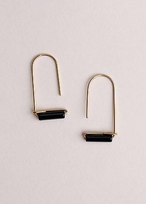 Black Onyx Gemstone Drop Earrings