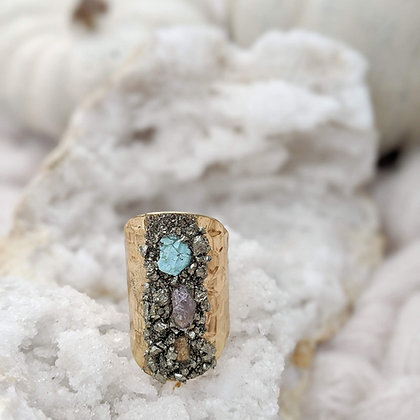Boho Raw Stone Gold Plated Adjustable Ring