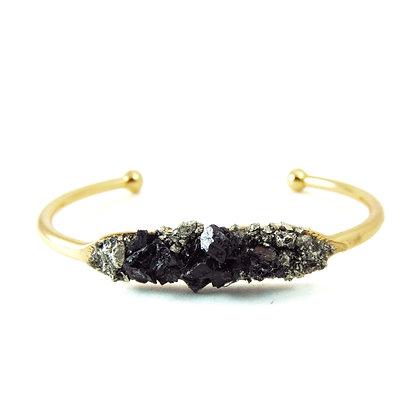 Pyrite Raw Black Tourmaline Bracelet