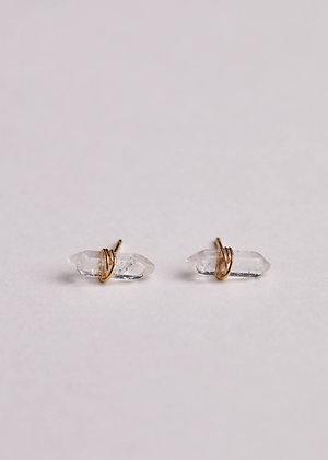 Clear Quartz Mineral Point Earrings