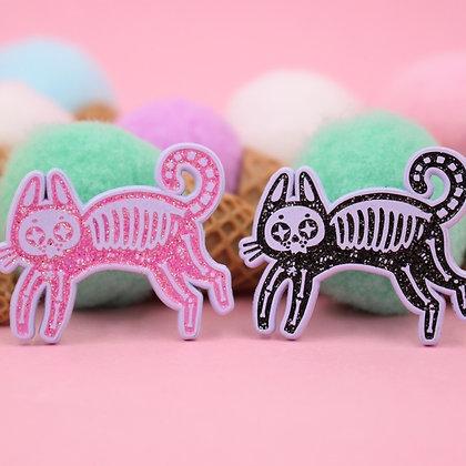 Skeleton Cat Enamel Pin – Black Cat Pin
