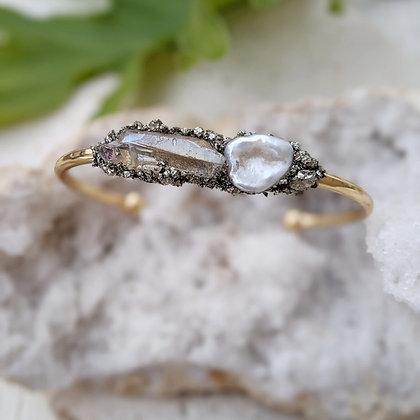 Pearl Cuff Bracelet Gold Bracelet Cuff Raw Pyrite Bracelet