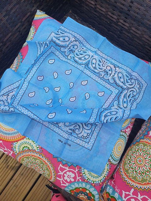 Sky Blue 100% cotton Bandana