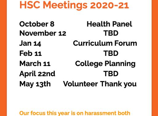 HSC Meeting Schedule 2020-2021