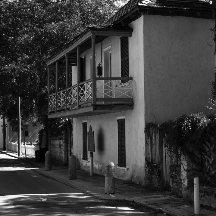 black and white photo of a historic home in St Augustine, Florida