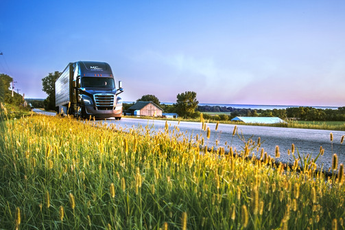 A freightliner semi truck drives past a farm in the country