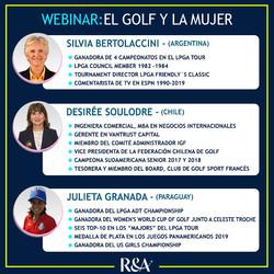 Expositoras del Webinar sobre El Golf y la Mujer: Silvia Bertolaccini, Desirée Soulodre y Julieta Gr