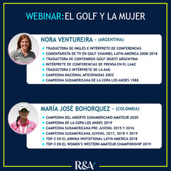 Expositoras del Webinar sobre El Golf y la Mujer: Nora Ventureira y María José Bohorquez.