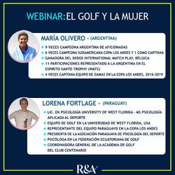 Expositoras del Webinar sobre El Golf y la Mujer: María Olivero y Lorena Fortlage.
