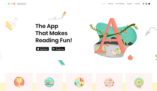 Technologie und Apps website templates – Kids App Landing Page