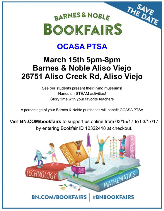 OCASA PTSA Bookfair at Barnes and Noble