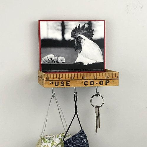 handmade rooster key holder