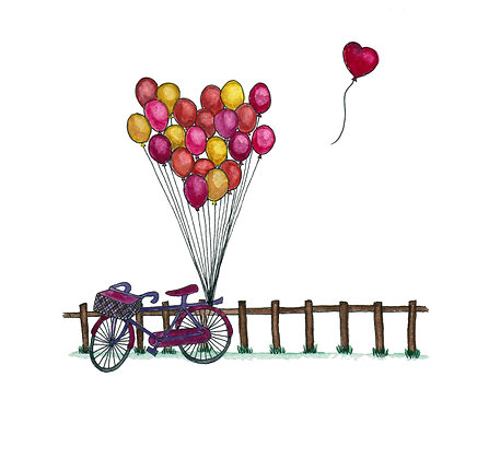 Bicycle Love - square greeting card