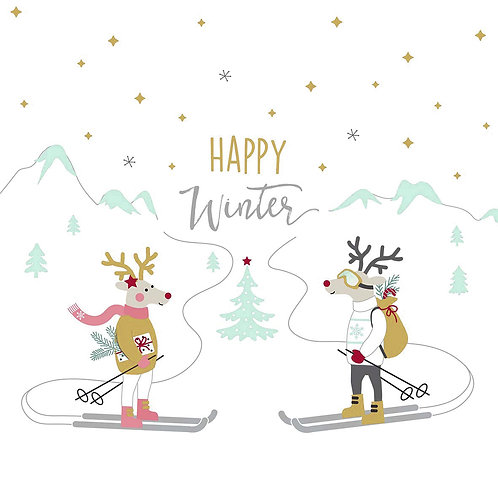 Serviette Skiing Deer