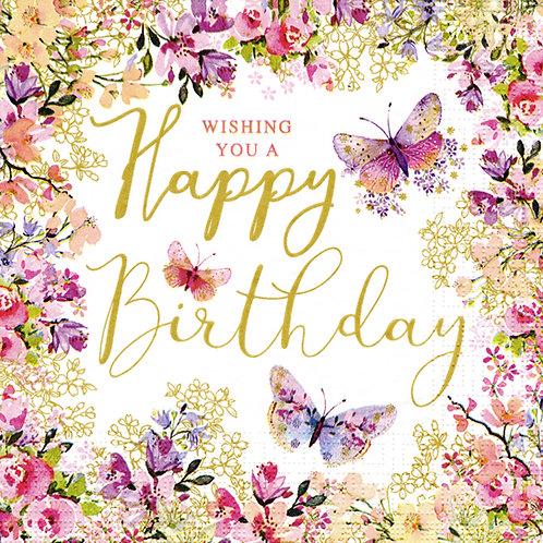 """Serviette """"Wishing a Happy Birthday"""""""