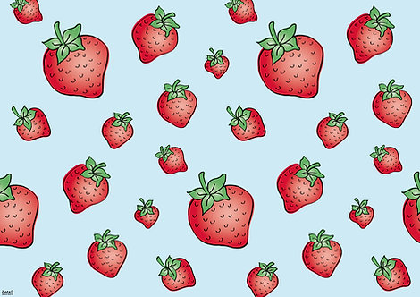 Tischset Erdbeeren mit Erdbeerduft
