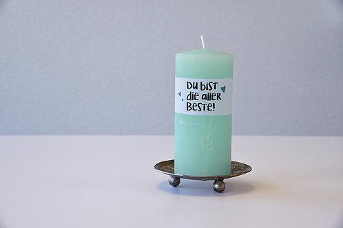Kerze mit Dankesbotschaft