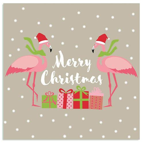 Serviette Weihnachts-Flamingos