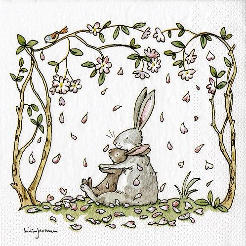 Serviette «Blossoms and Bunnies»
