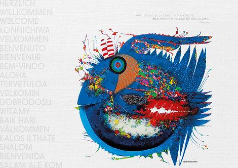 Papiertischsets Zweihörniger Blauschwanzfederfisch gemütlich im Ozean FSC®-Mix
