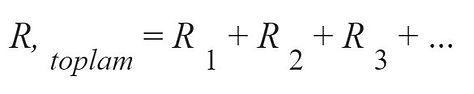 Seri Bağlı Dirençler formülü
