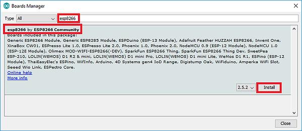 arduino esp8266 kurulum adım