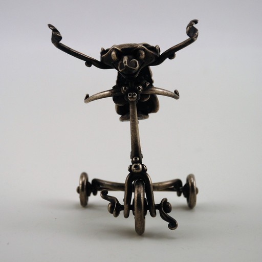 """L. Brent Kington, """"Tricycle,"""" c. 1960s. Sterling silver. Gift of Mary Lee Hu, 2017.12.11."""
