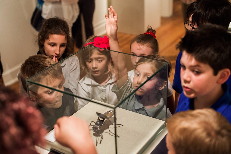Students crowding around a sculpture on a pedestal. One girl raises her hand to ask the tour guide a question.
