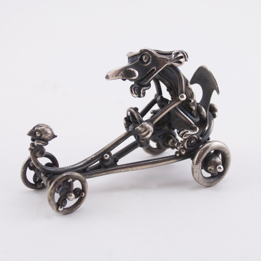 """L. Brent Kington, """"Dragster,"""" c. 1960s. Sterling silver. Gift of Michael Croft, 2016.9.1."""