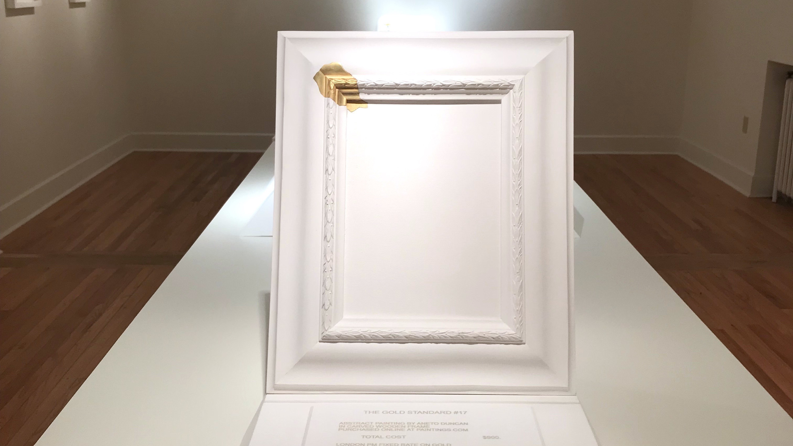 """The Gold Standard Part I: #17 (Painting)."" Plaster, 18k gold, acrylic. Image courtesy of the Metal Museum."