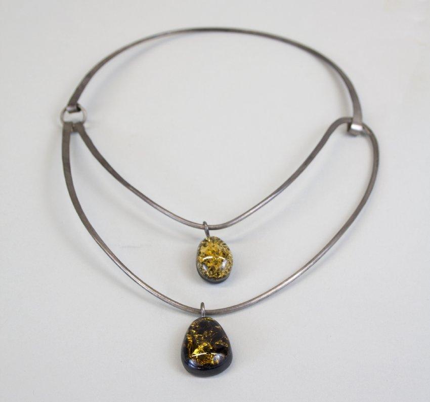 "Elsa Freund, ""Neckpiece #1,"" c. 1963. Clay, glass, silver. Gift of Mr. and Mrs. WIlliam E. Davis, 1993.4.1."