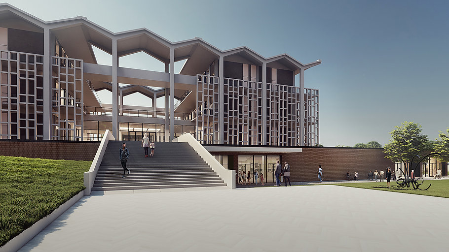 A design rendering of the new entrance to the Memphis College of Art building, Rust Hall.