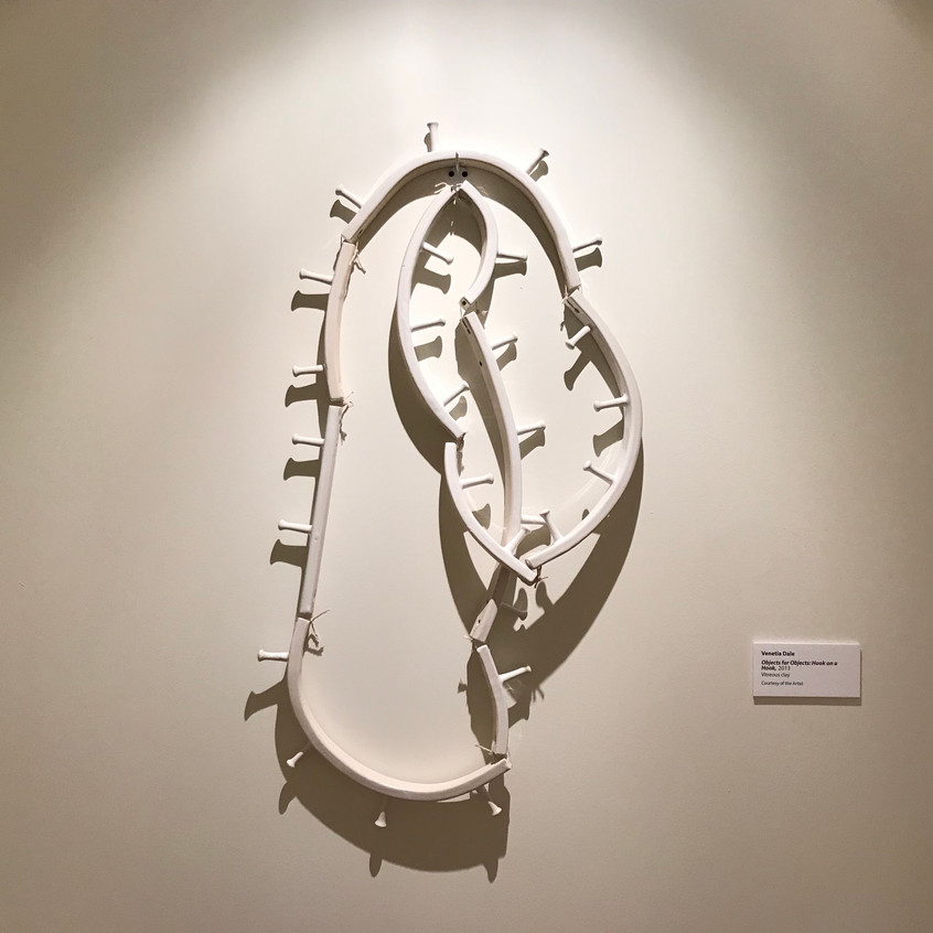 "Venetia Dale. ""Objects for Objects: Hook on a Hook"". 2013. Vitreous clay. Image courtesy of the Metal Museum."