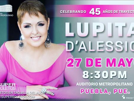 Lupita D'Alessio festejará 45 años de carrera con los Poblanos.