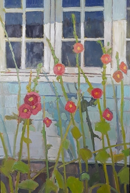 Hollyhocks and windows