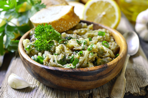 Eggplant salad with olive oil,herb and g