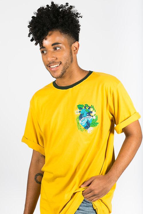 Maxi T-shirt Coração Brasileiro - Amarelo