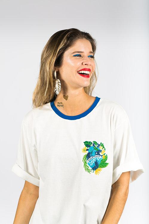 Maxi T-shirt Coração Brasileiro - Branco