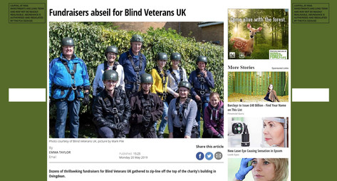 Fundraisers Zip-Line For Blind Veterans UK